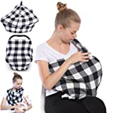 Nursing Breastfeeding Cover Scarf,Baby Car Seat Cover Canopy ,Shopping Cart / Stroller / Carseat Covers,Breathable Windproof Stretchy 5 in 1 unisex baby shower gift by Vicsou (Plaid)