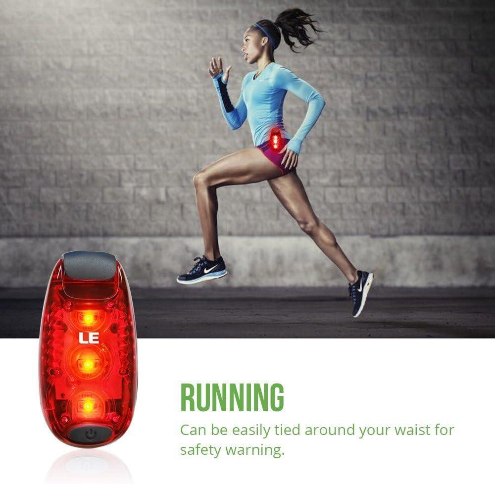 Walking 4 Packs LE LED Safety Lights 3 Modes Bike Tail Lights Batteries Included Warning Light High Visibility Bike Rear Light Clip on Strobe Running Collar Lights for Runners Dogs