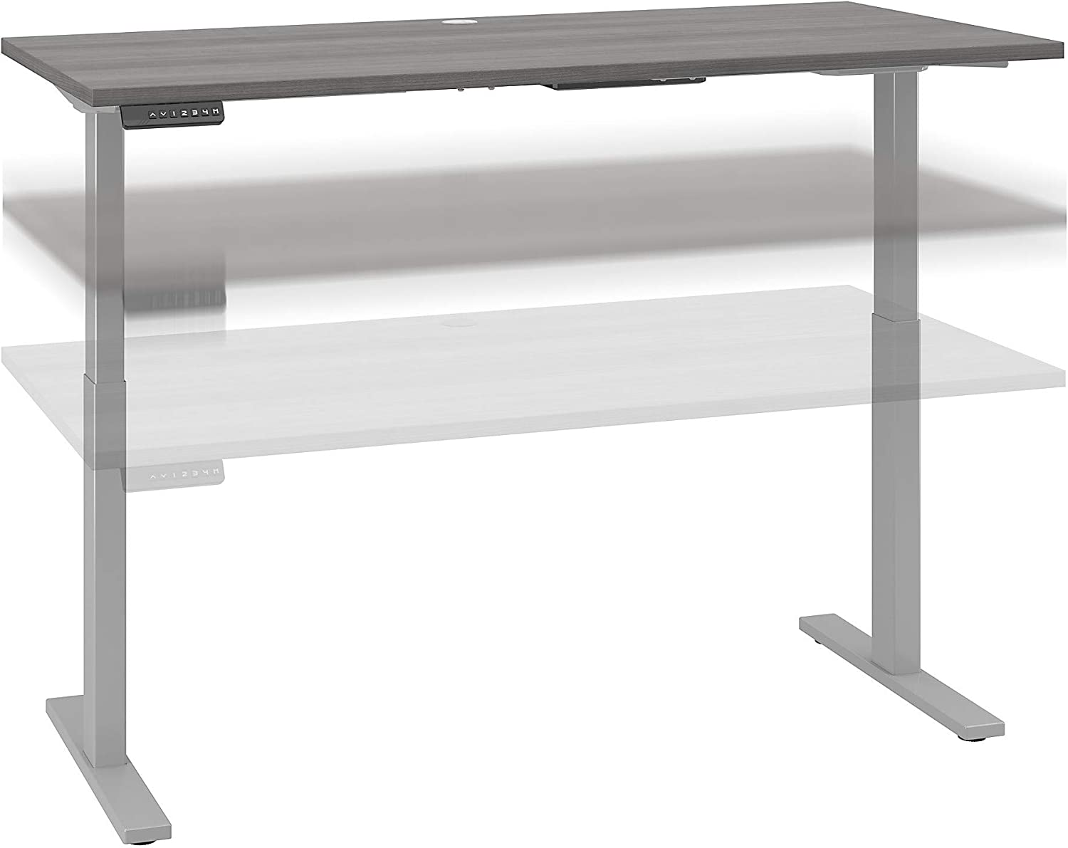 Bush Business Furniture Move 60 Series Height Adjustable Standing Desk, 60W x 30D, Platinum Gray with Cool Gray Metallic Base