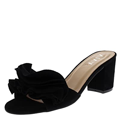 b2b63010205b88 Viva Women Low Mid Heel Suede Flower Ruffle Slip On Mule Sandals Shoes -  Black KL0261D