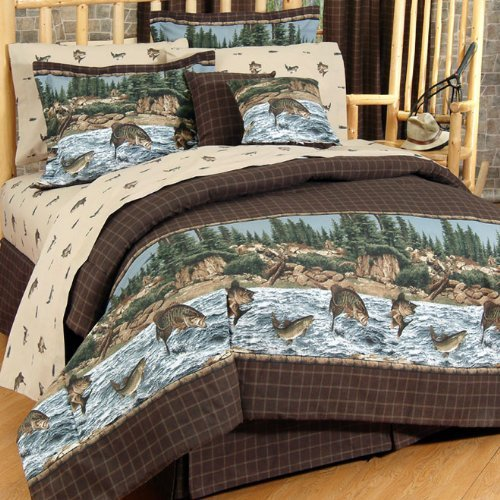 Captivating River Fishing Sheet Set Size: Queen. By Kimlor Bedding