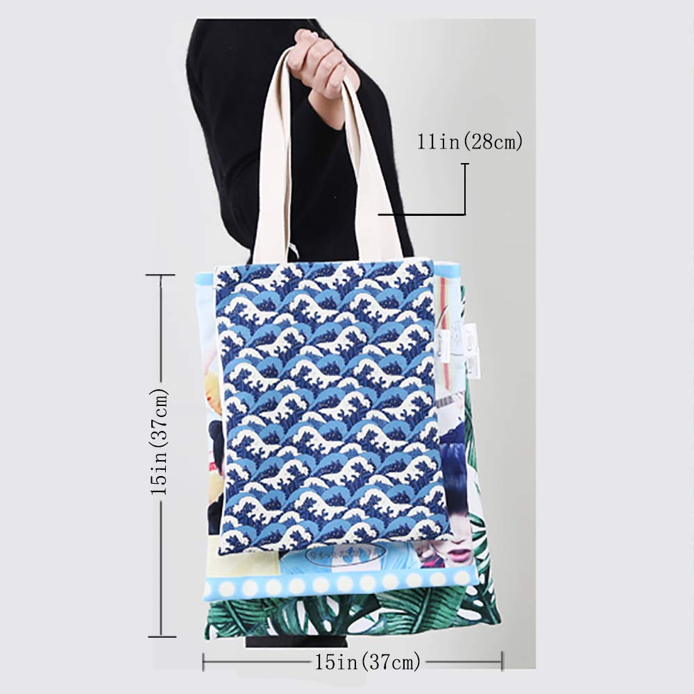 12x15-10 Jurassic canvas messenger bag Colorful Dinosaur Pattern Beast Fantasy Primeval Times Happiness canvas beach bag Green Turquoise Marigold