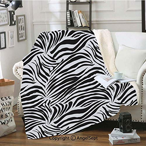 Luxury Velvet Blanket,Striped Zebra Animal Print Nature Wildlife Inspired Fashion Simple Illustration,60x50inch,for Sofa,Chair,Bedroom,Black ()