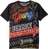Versace Kids Boy's Short Sleeve Neon Lights Logo Graphic T-Shirt (Big Kids) Black/Multi 9-10