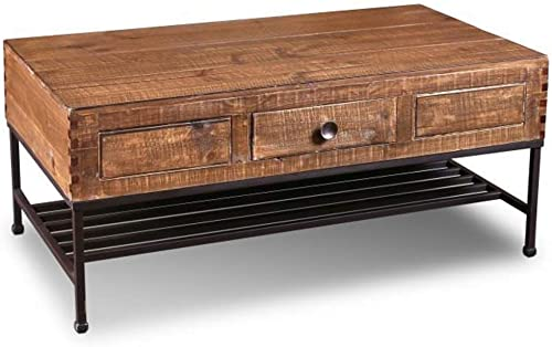 Reviewed: Crafters and Weavers Rustic Industrial Style Solid Wood and Metal Coffee Table Living Room Center Table