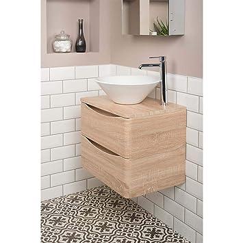Aquariss Badezimmer 600 Waschtisch Unterschrank Eiche Hell Aufsatz