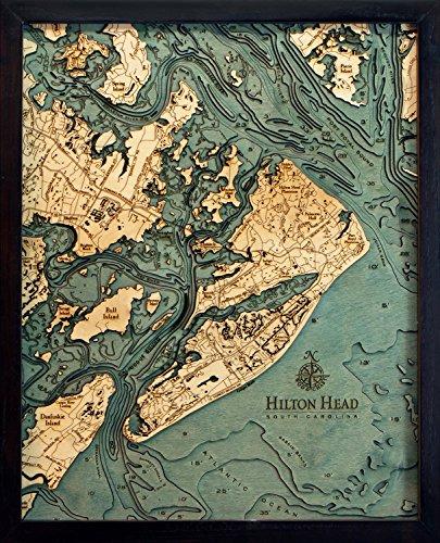 (WoodChart Hilton Head, South Carolina 3-D Nautical Wood Chart, Small, 16