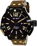 Jet Set - J3610B-766 - Ontario - Montre Homme - Quartz Analogique - Cadran Noir - Bracelet Cuir Marron