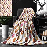 Unique Custom Double Sides Print Flannel Blankets Donuts And Little Hearts Pattern Colorful Yummy Delicious Dessert Cafeteria Restaurant Super Soft Blanketry for Bed Couch, Twin Size 60 x 70 Inches