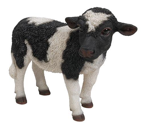 Hi-Line Gift Ltd Standing Cow Statue, Small, Black White