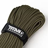 "TITAN WarriorCord | OLIVE-DRAB | 103 CONTINUOUS FEET | Exceeds Authentic MIL-C-5040, Type III 550 Paracord Standards. 7 Strand, 5/32"" (4mm) Diameter, Military Parachute Cord."