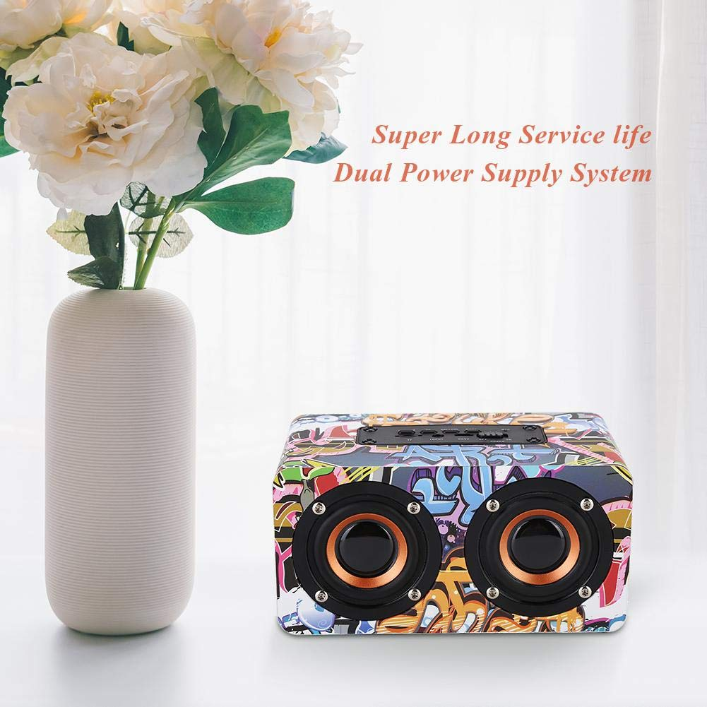Schwarz Bluetooth Lautsprecher,Holz Wireless Bluetooth Lautsprecher HiFi Musik Heavy Bass Sound Subwoofer,Multifunktion Stereo-Surround Lautsprecher mit Freisprechen,Unterst/ützt TF-Karte//AUX