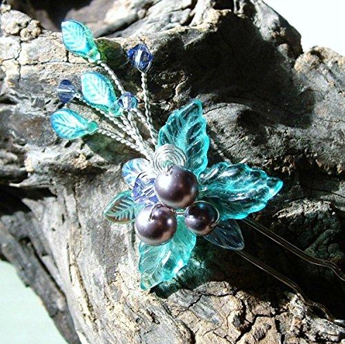 (Beaded Fantasy Hair Pin Aqua Blue, Single or Sets)