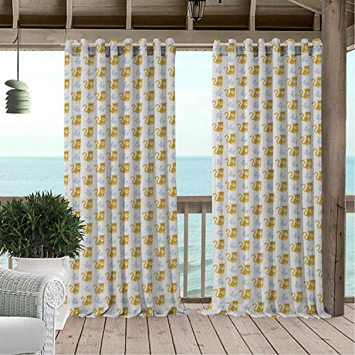 Outdoor Waterproof Curtain Cheetah Wild and Domestic Animals Cartoon Illustration Cheetah and Rabbit Kids Nursery Multicolor pergola Grommets Decor Curtain 84 by 96 inch