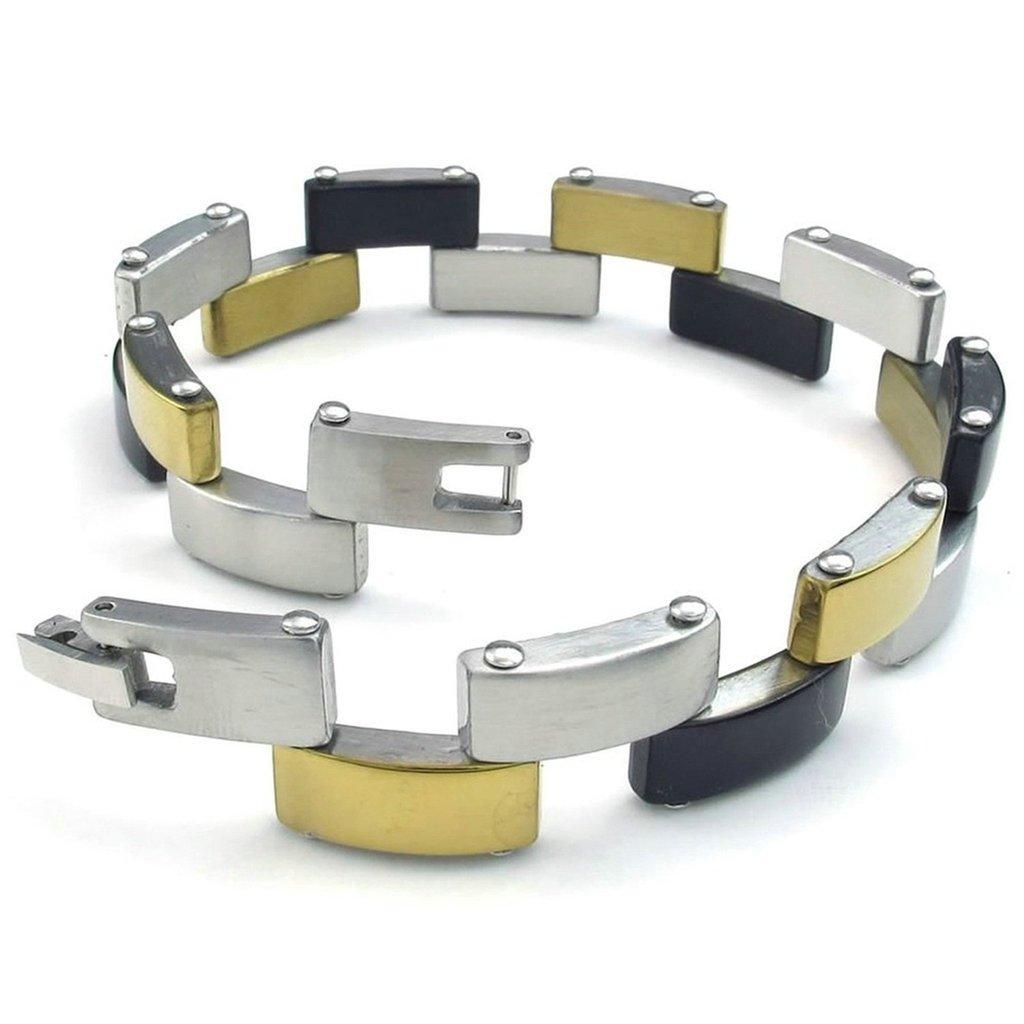 Daesar Stainless Steel Bracelet Mens Curb Bracelets Silver Black Gold Bracelet for Men Length:8 Inches