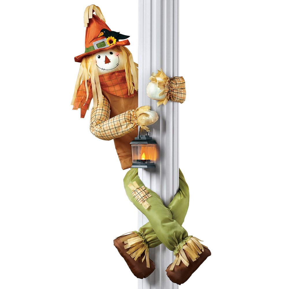 Collections Etc Scarecrow Hugger with Lantern Fall Outdoor or Indoor Decoration, Lighted Porch Décor, Poseable Arms and Legs