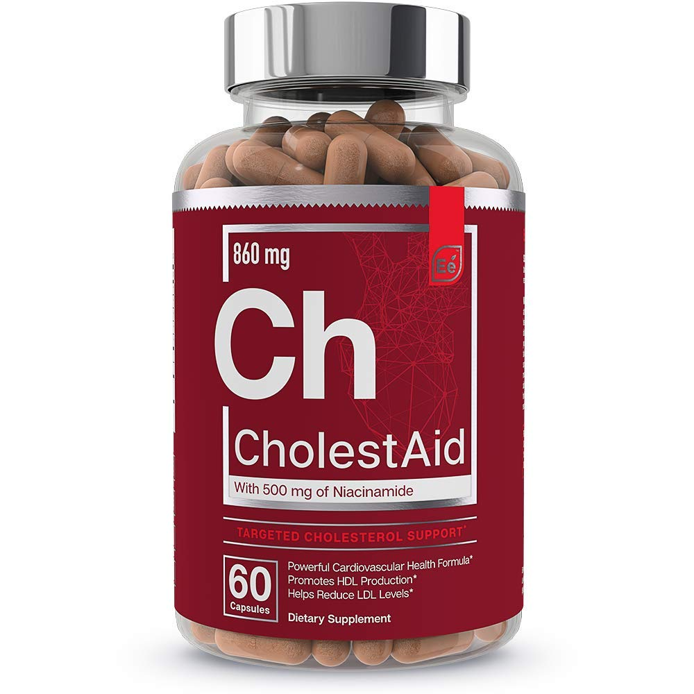 Cholesterol Support Supplement - for Heart Health with Red Yeast Rice, Garlic, Niacinamide   CholestAid by Essential Elements   60 Capsules