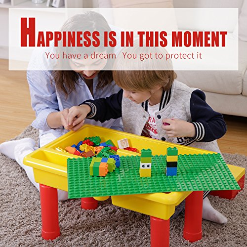 burgkidz Kids 2-in-1 Block Table with Baseplate Board and 68 Piece Large Building Blocks, Children Educational Toy Classic Big Building Bricks Desk, Primary Colors …