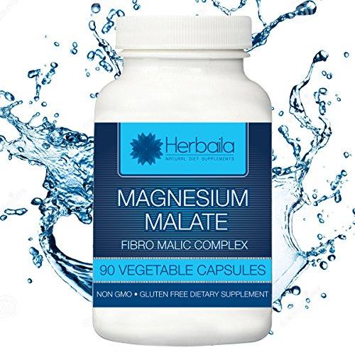 Herbaila Magnesium Malate With Vitamin B1 - Fibro Malic Complex - 90 (Magnesium Malate 90 Caps)
