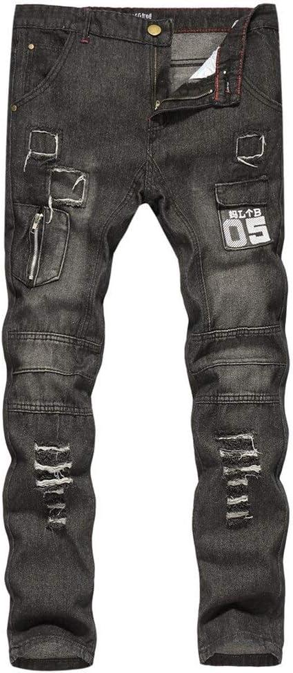 メンズジップワイドパンツ 新しいメンズジーンズ、カジュアルパンツソリッドカラー印刷スリム穴 エフェクトライトウォッシュ (Color : Black, Size : L)