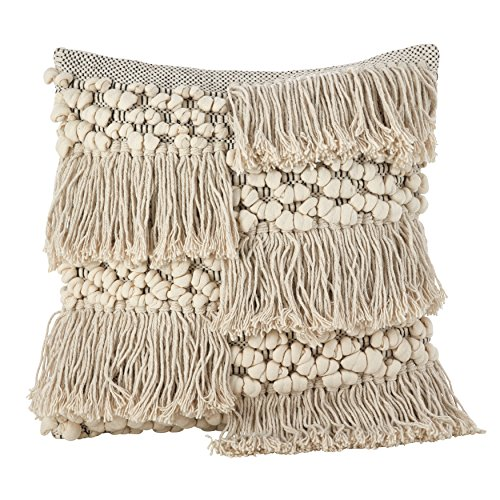 SARO LIFESTYLE Moroccan Wedding Blanket Design Fringe Cotton Down Filled Throw Pillow, 18