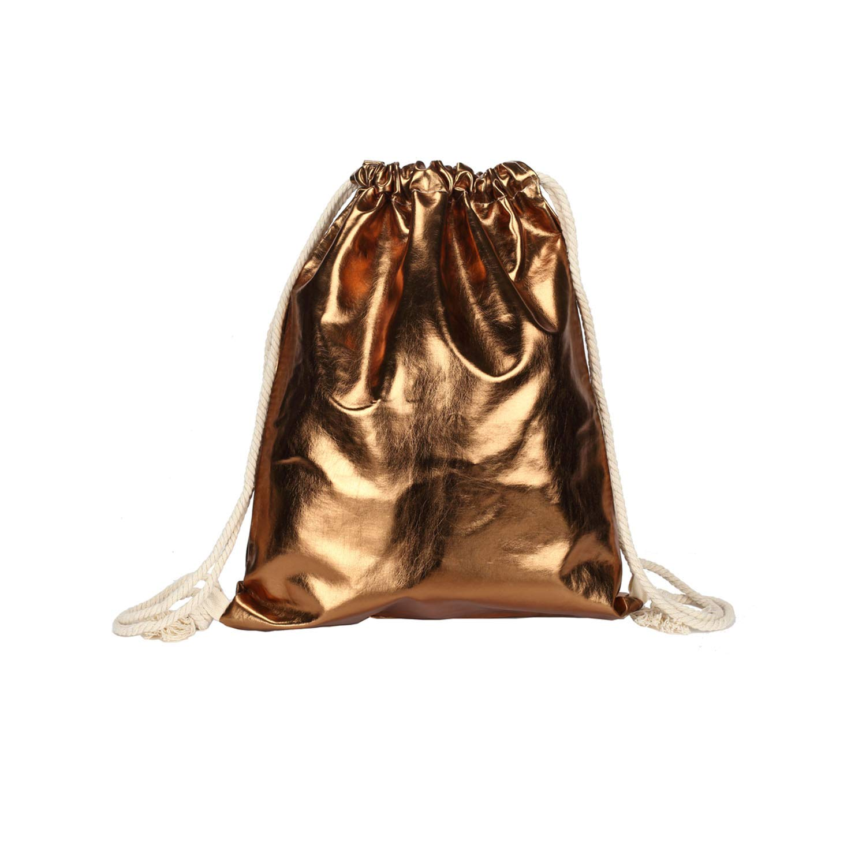 PU leather Drawstring Backpack Bag Casual Fashion Cinch Sack Backpack Waterproof String Backpack for Women Girls Teen Metallic Champane