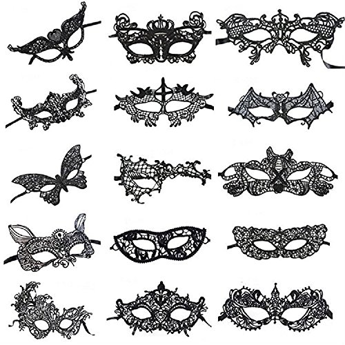 SuperLi Pack of 15 Vintage Lace Masquerade Masks-Halloween Mardi Gras Party -