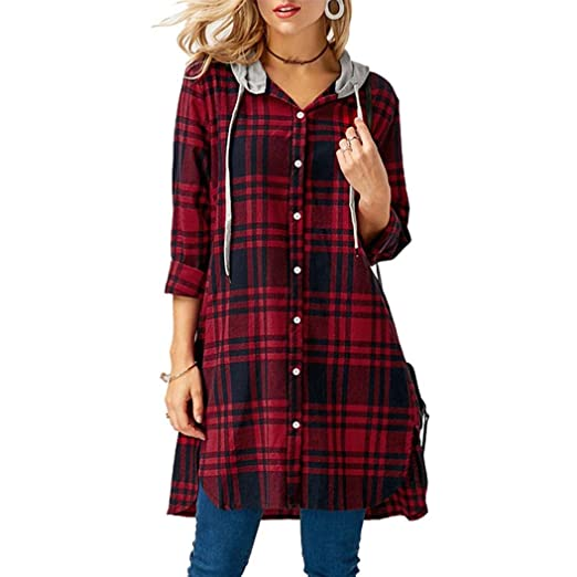 Moonhouse 2018 Womens Ladies Tops Long Sleeve Hooded Casual Plaid