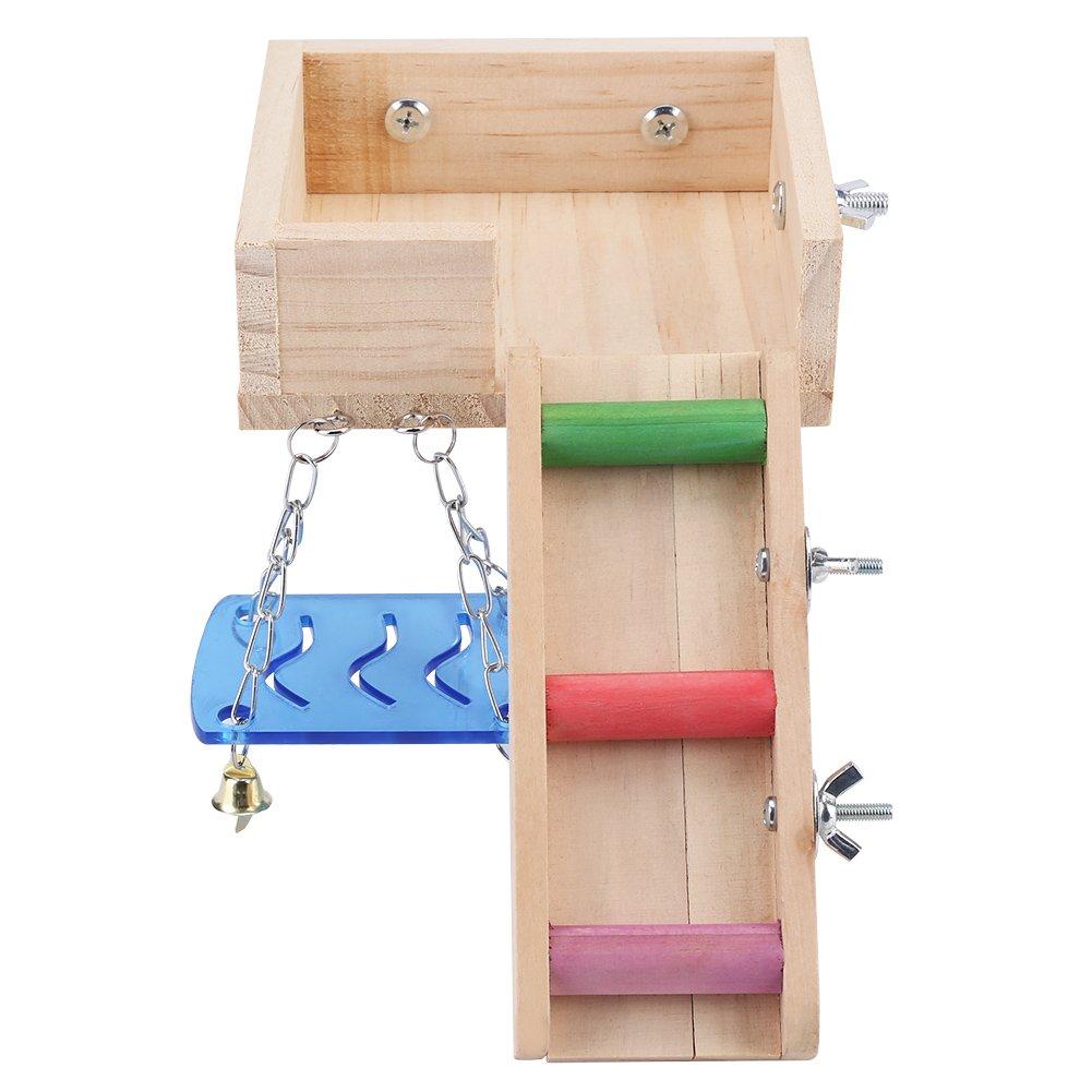 Piattaforma di legno Altalena criceto per animali domestici e set di scale scala di mouse Scoiattolo Loft Kit trainabile di piccoli animali naturale Fdit