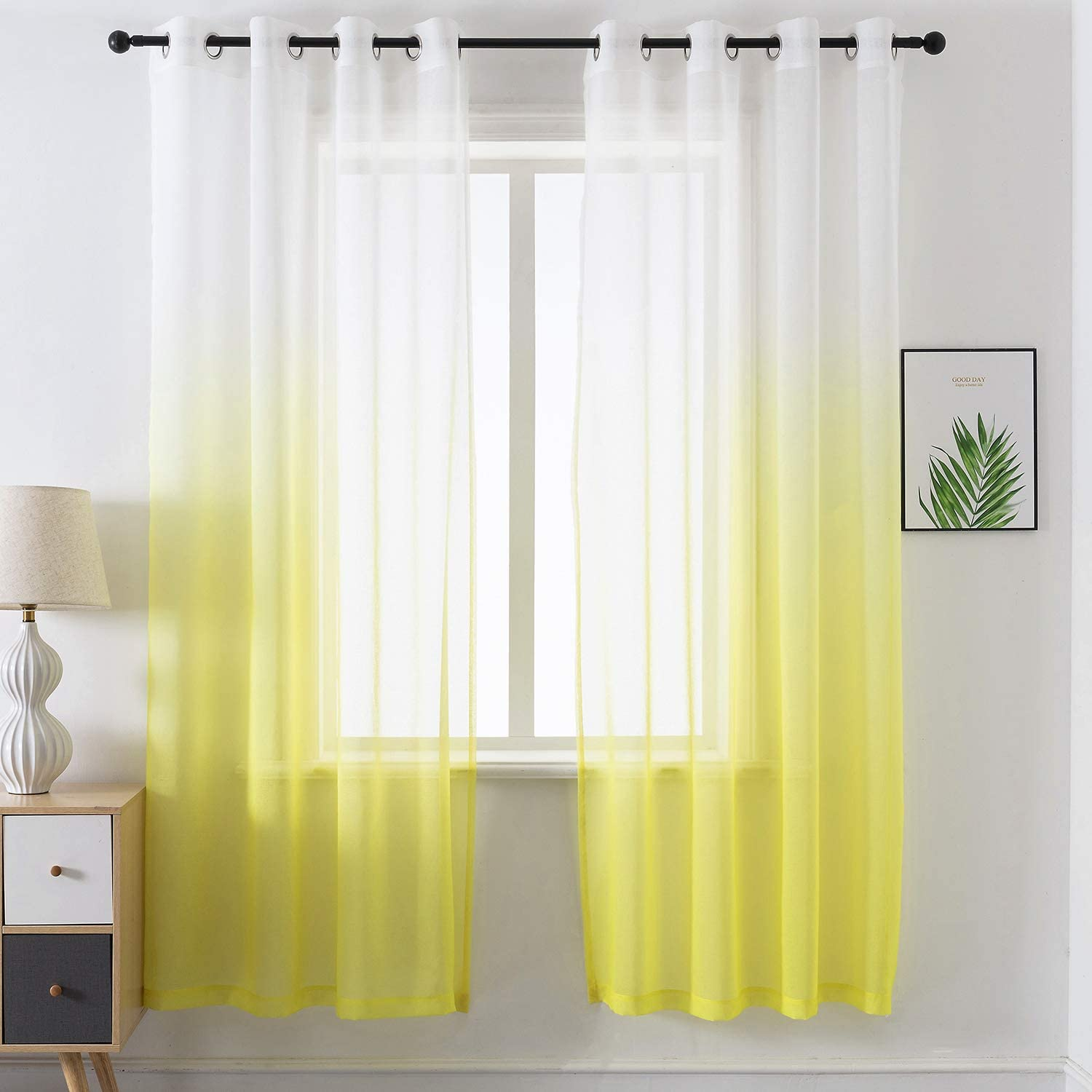 "JUJOLY Yellow Semi Sheer Curtains 84 inches Long for Bedroom Ombre Print Grommet Light Filtering Window Curtains for Living Room Girls Décor, Set of 2, White to Yellow Gradient, 52"" x 84"""