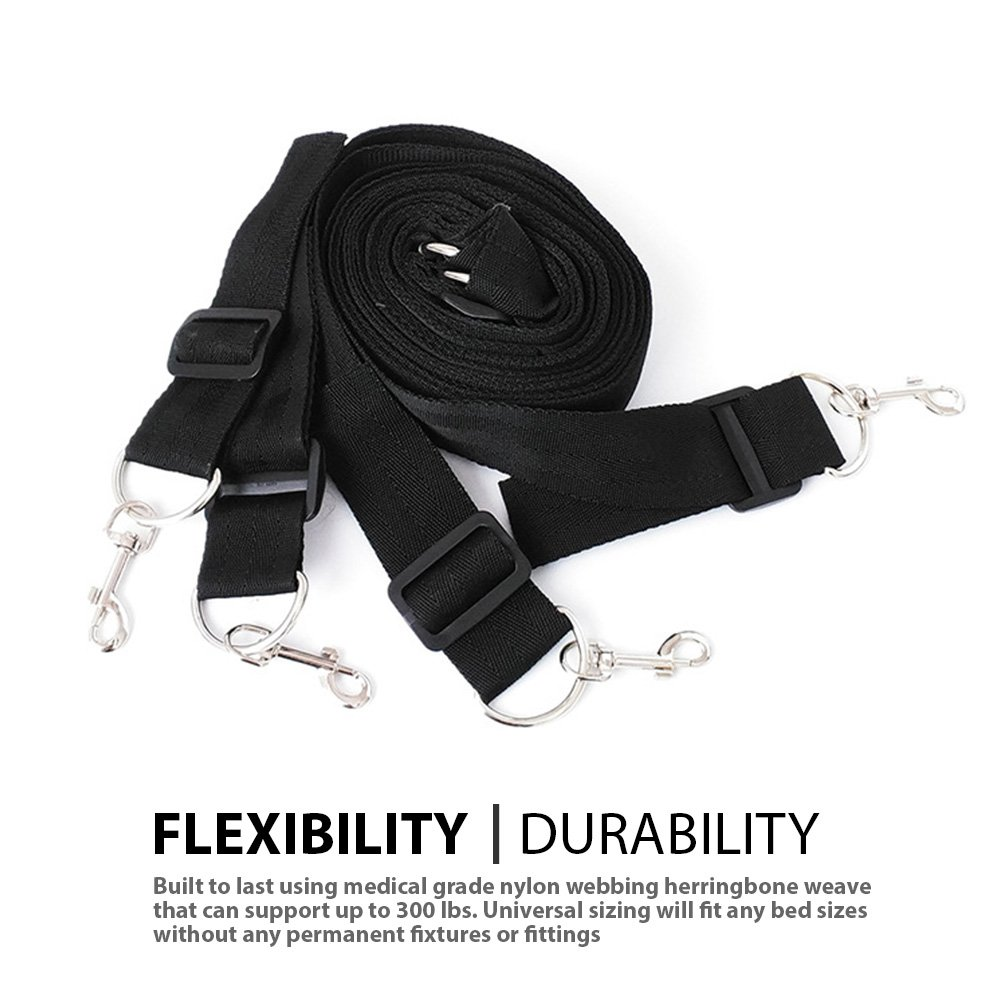 FriskyNite™ Premium Bed Restraint System Kit Medical Grade Strap with Soft Furry Comfortable Wrist and Ankle Straps by FriskyNite (Image #3)