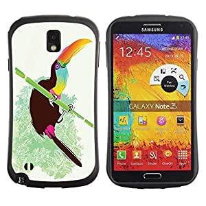 Hybrid Anti-Shock Bumper Case for Samsung Galaxy Note 3 / Cool Neon Bird On Bamboo