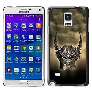 PC/Aluminum Funda Carcasa protectora para Samsung Galaxy Note 4 SM-N910F SM-N910K SM-N910C SM-N910W8 SM-N910U SM-N910 Ancient Warrior Winged Helmet / JUSTGO PHONE PROTECTOR