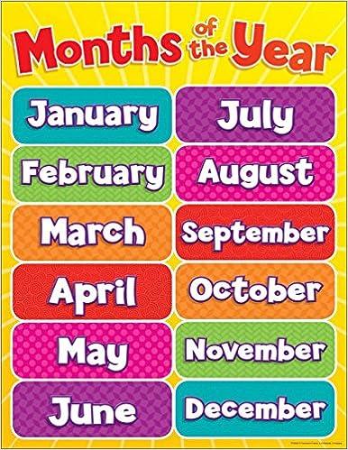 amazon months of the year chart teacher s friend instruction