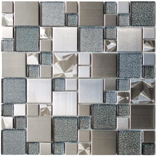 Modern Cobble Stainless Steel With Silver Glass Metal Tile Kitchen Backsplash Bathroom Wall Home Decor Fireplace Surround Mosaic Tile Amazon Com