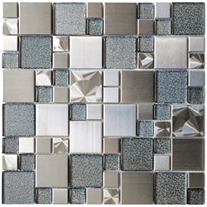 Modern Cobble Stainless Steel With Silver Glass Metal Tile   Kitchen  Backsplash/Bathroom Wall/