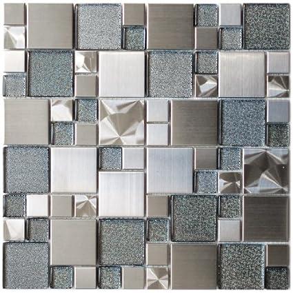 Modern Cobble Stainless Steel With Silver Glass Metal Tile Kitchen Extraordinary Modern Mosaic Tile Backsplash