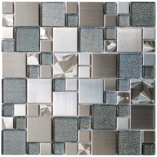 Modern Cobble Stainless Steel With Silver Glass Metal Tile - Kitchen Backsplash / Bathroom Wall / Home Decor / Fireplace (Modern Mosaic Glass)