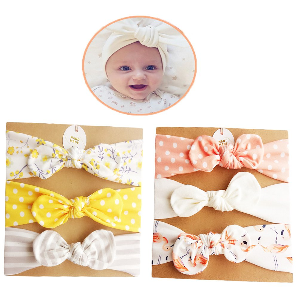 DANMY Baby Girl's Rabbit Ears Headband Cotton Cloth Elastic Hair Band Bow Boy Soft Turban (6pcs Bow(as Shown))
