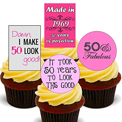 50th Birthday Female Funny Edible Cupcake Toppers
