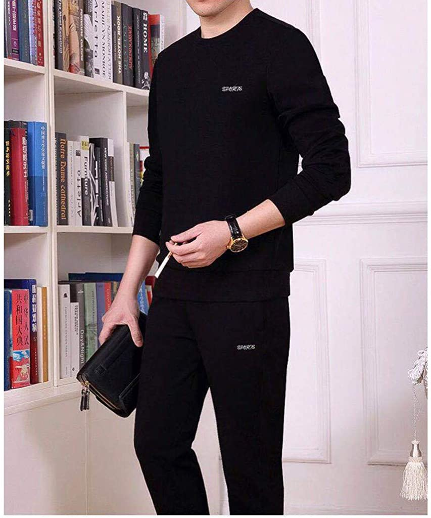 Rosennie Tracksuits for Men Sportswear Suit Pure Color Long Sleeved Trousers Suit Climbing Soft Sets Comfortable Daily Tops and Pants