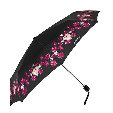 Paraguas Mujer Plegable Maison Perletti - Abertura y Cierre Automático - Acabados Elegantes con Detalles en