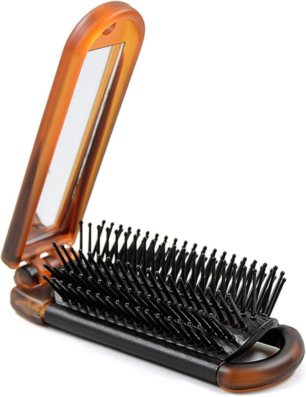 Ancable - Cepillo Plegable para El Pelo Con Espejo, Tamaño Compacto, para Viajes, Coches, Gimnasio, Monederos