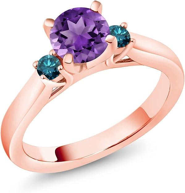1.96 ct Round Aquamarine Blue Simulated Diamond Promise Bridal Wedding Engagement Classic Designer  Designer Ring Solid 14k Rose Gold