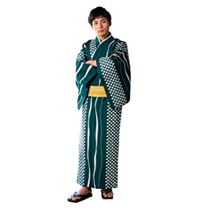 浴衣 メンズ 男性 夏着物 単品「市松よろけ縞 緑」ポリエステル LLサイズ