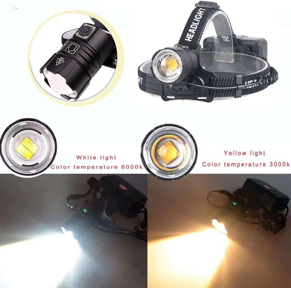 MinChen XHP70.2 Led Headlamp High Light 32W Zoomable CREE LED Headlight Head Lamp 3 Working Modes USB Rechargeable Headlamp Flash Light with 3pc Protected 18650 Rechargeable Batteries