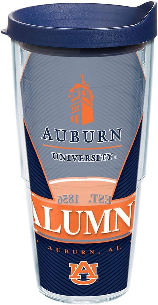 Tervis 1223962 Auburn Tigers Alumni Tumbler with Wrap and Navy Lid 24oz, Clear