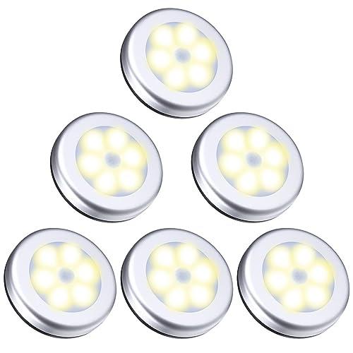 Oria Luz de Noche con Sensor de Movimiento, Luces Nocturnas 6 LED de Pilas con