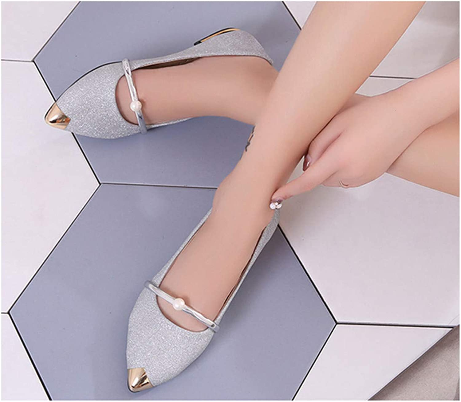 Spring Spring New Ladies Flat Shoes Casual Women Shoes Comfortable Pointed Toe Flat Shoes M989 Silver