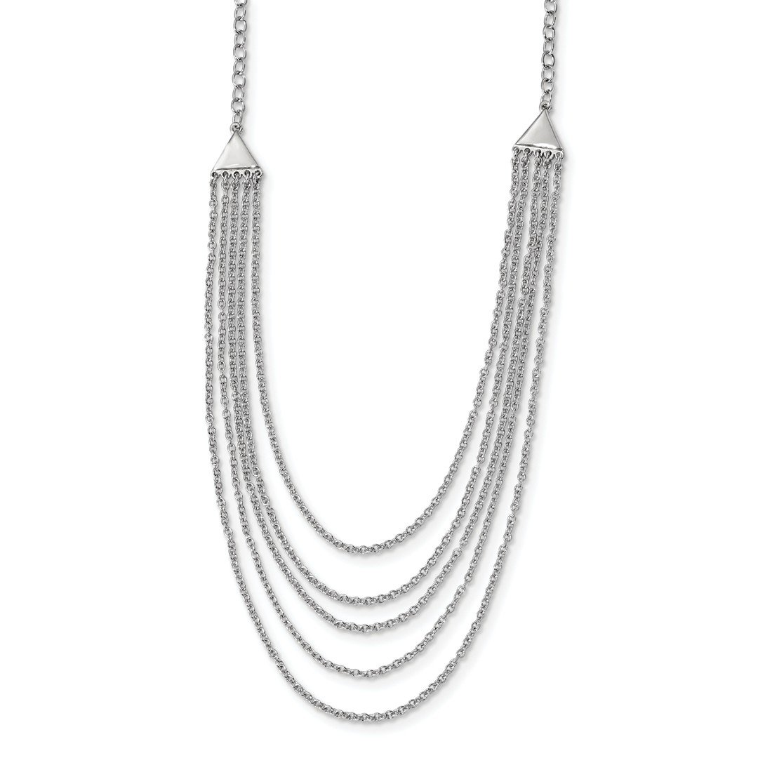 ICE CARATS 925 Sterling Silver Multi Strand Chain Necklace Pendant Charm Fancy Fine Jewelry Ideal Gifts For Women Gift Set From Heart